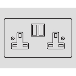 2-GANG 13A SWITCHED SOCKET OUTLET BLACK INSERTS