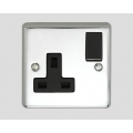 1-GANG 13A SWITCHED SOCKET OUTLET BLACK INSERT