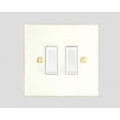 2-GANG 2-WAY PLASTIC ROCKER SWITCH WHITE INSERT