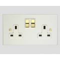 2-GANG 13A SWITCHED SOCKET OUTLET WHITE INSERTS